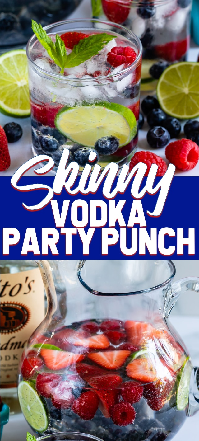 collage of skinny vodka party punch photos