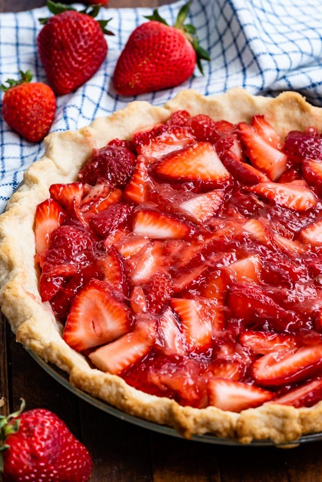 fresh strawberry pie with all butter pie crust