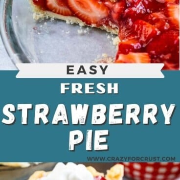 photo of sliced pie and slice of strawberry pie on white plate