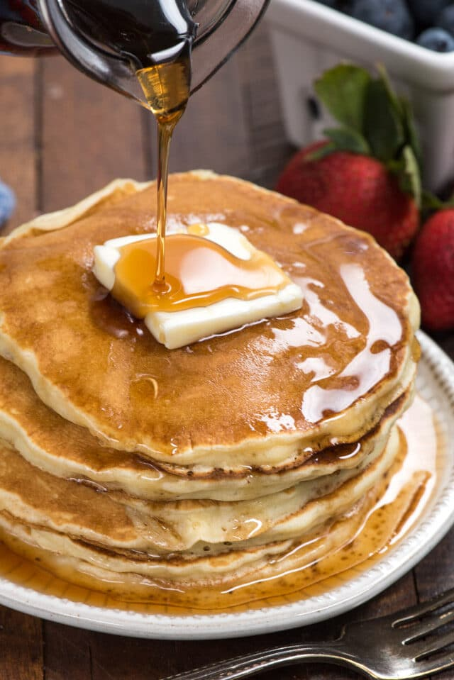stack of pancakes from fluffy pancake recipe
