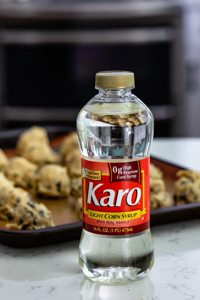 Karo bottle with pan of cookies