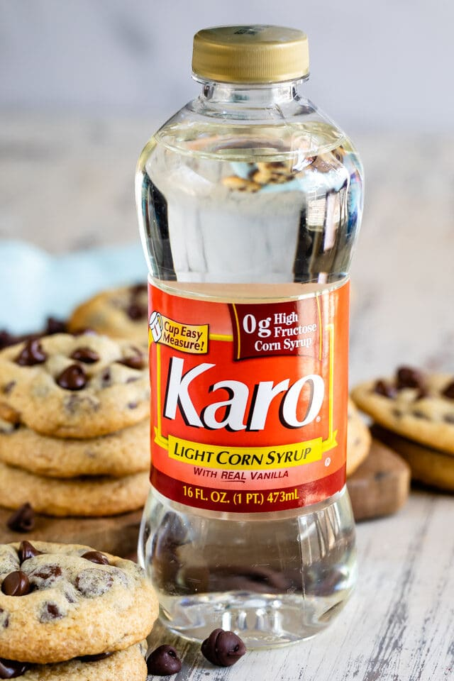 karo bottle with chocolate chip cookies
