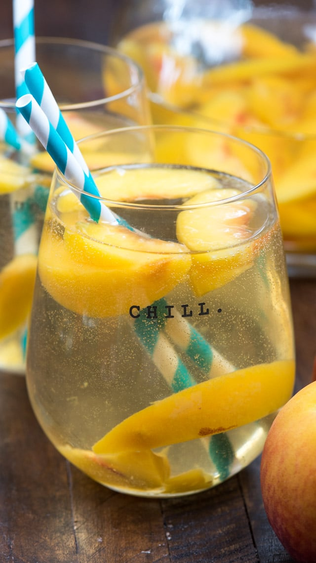 peach sangria in glass