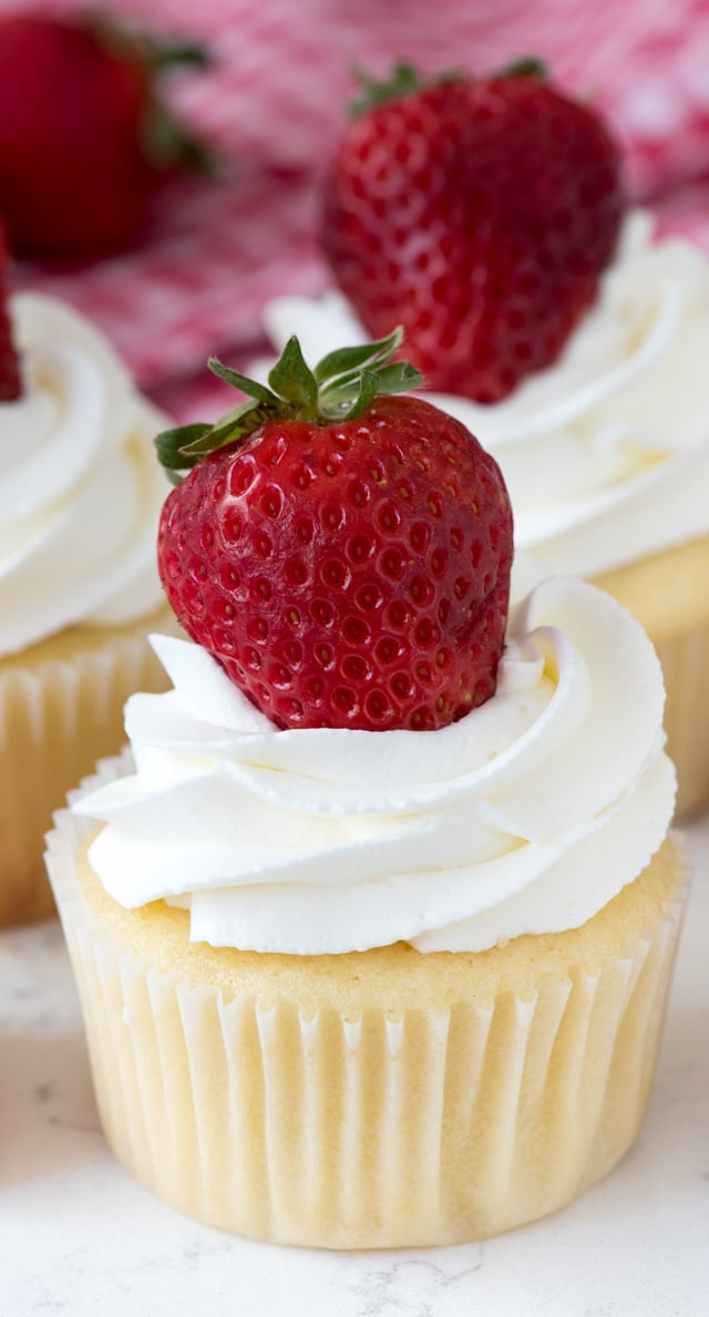vanilla cupcake with whipped cream and strawberry