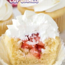 inside of strawberry shortcake cupcake