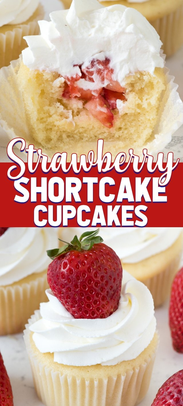 strawberry shortcake cupcakes collage photo