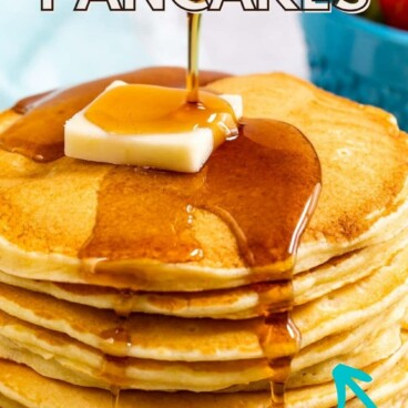 stack of pancakes with butter and syrup being poured over them with words on photo