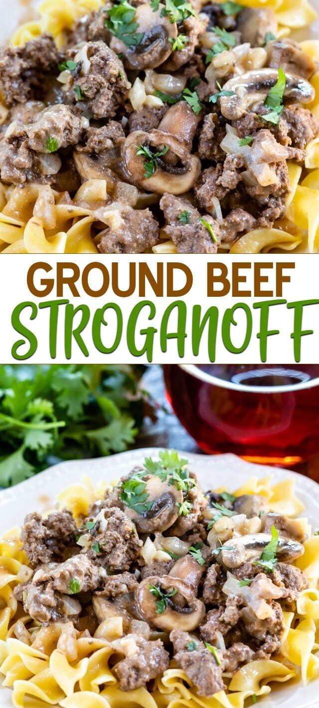 collage of beef stroganoff photos