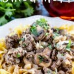 ground beef stroganoff on pasta