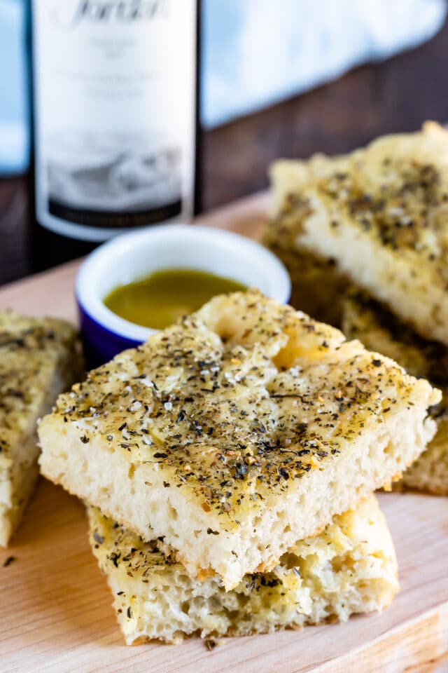 stack of focaccia with olive oil