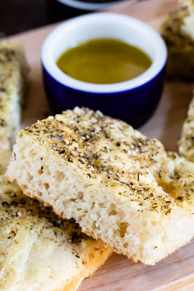 close up of focaccia brea with herbs