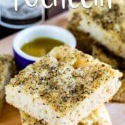 focaccia bread on cutting board