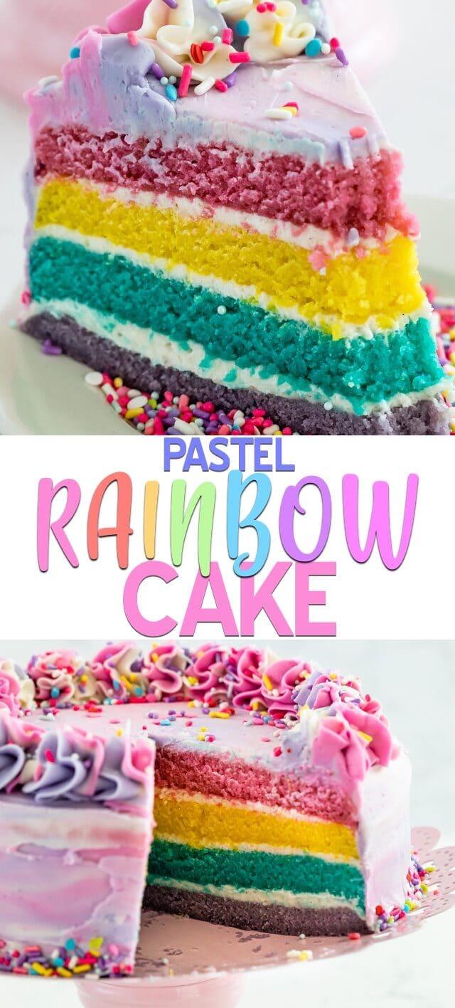 pastel rainbow cake collage