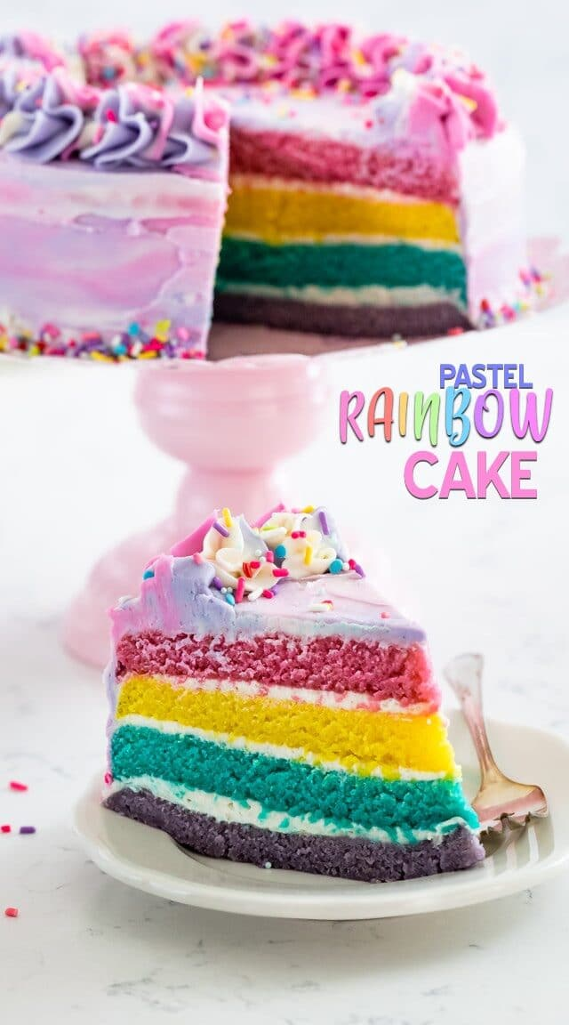pastel rainbow cake slice on plate
