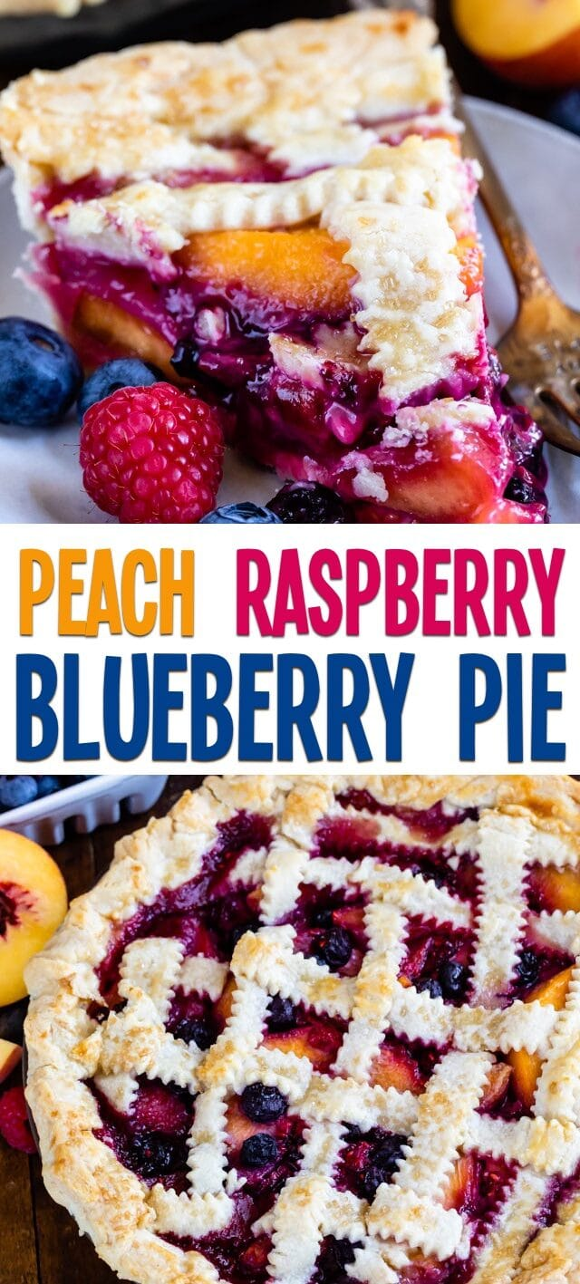 collage of peach blueberry pie photos