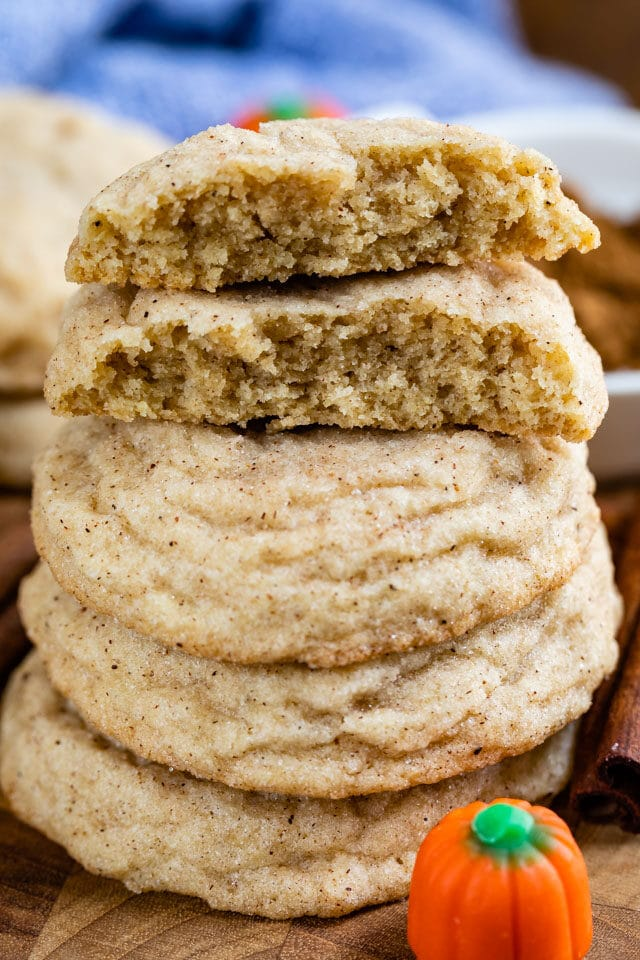 stack of snickerdoodles with pumpkin spice