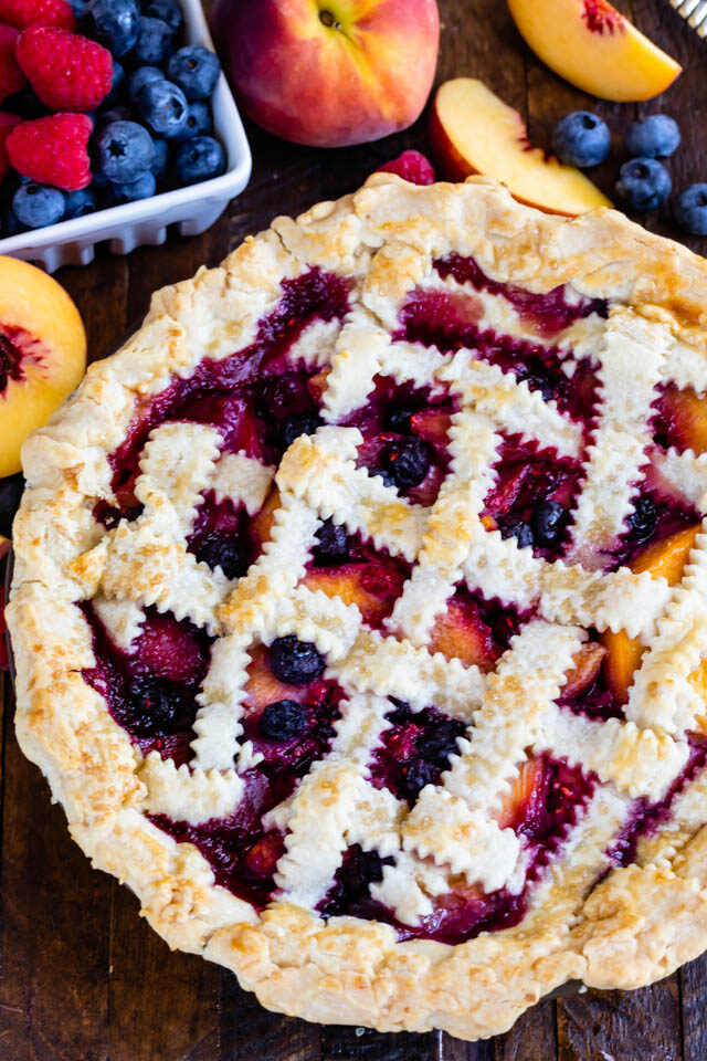 lattice topped pie overhead shot