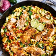 spicy chicken dinner in skillet