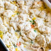 chicken pot pie in casserole dish