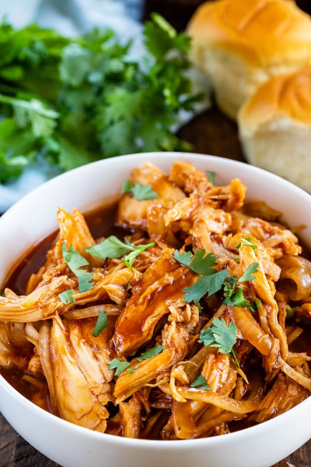 spicy pulled chicken in bowl