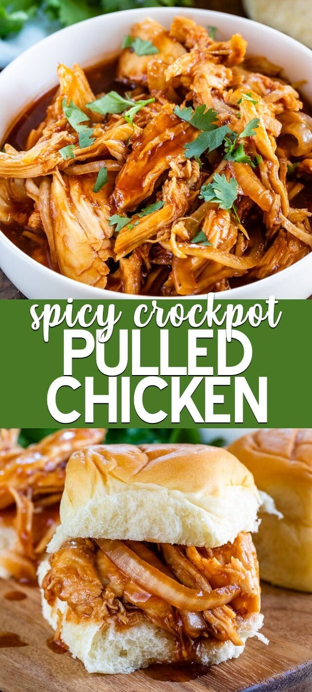 spicy pulled chicken collage