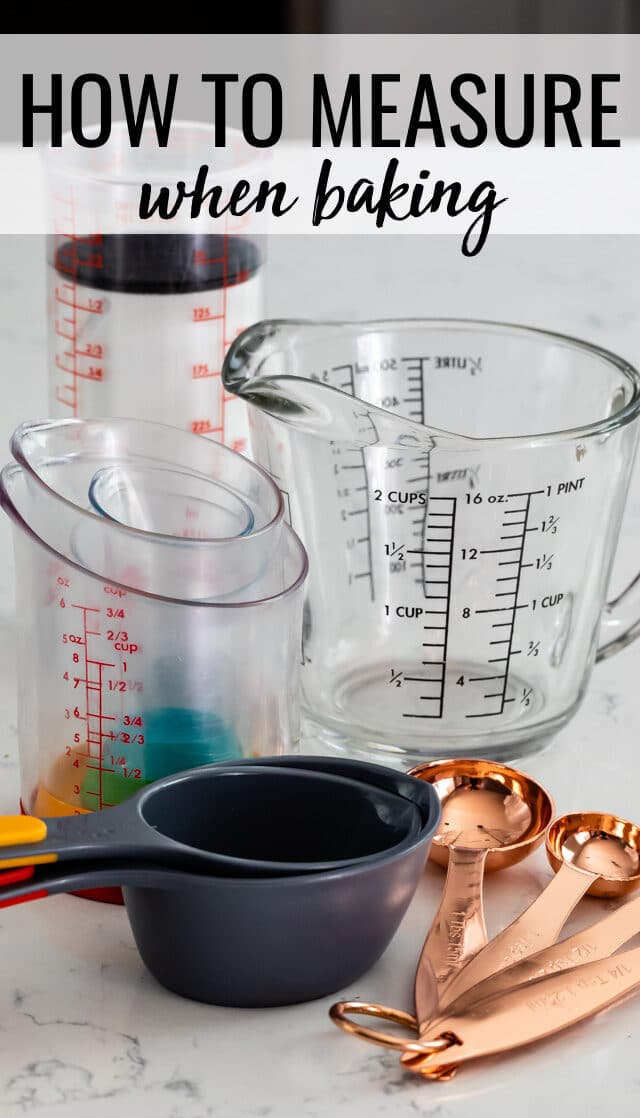 measuring cups and spoons on counter