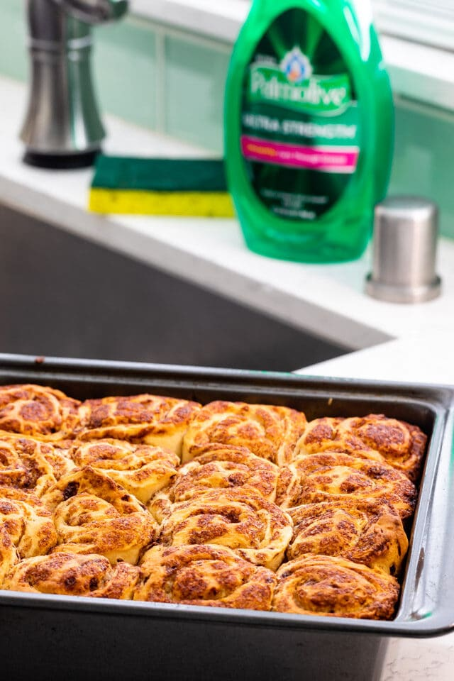 Caramel Pecan Sticky Buns in pan on counter