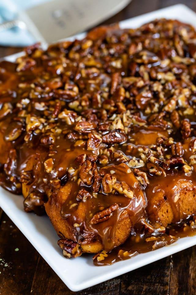 plate of caramel pecan buns