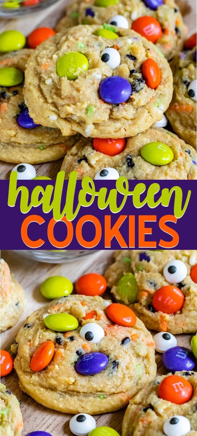 halloween cookies in collage photo
