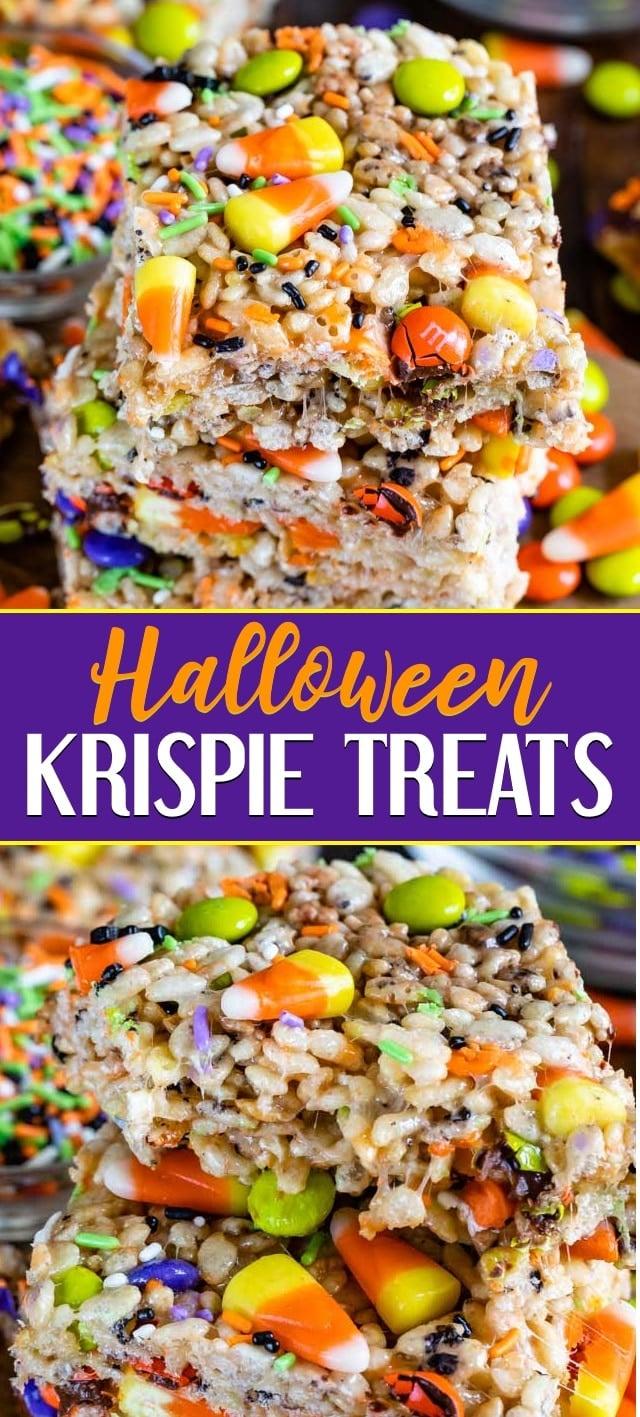 collage photo of halloween Krispie treats