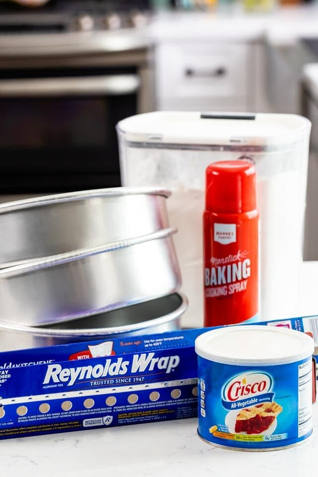 cake pans with flour and spray and Crisco