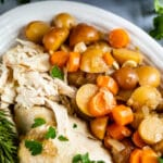 chicken and vegetables on white plate
