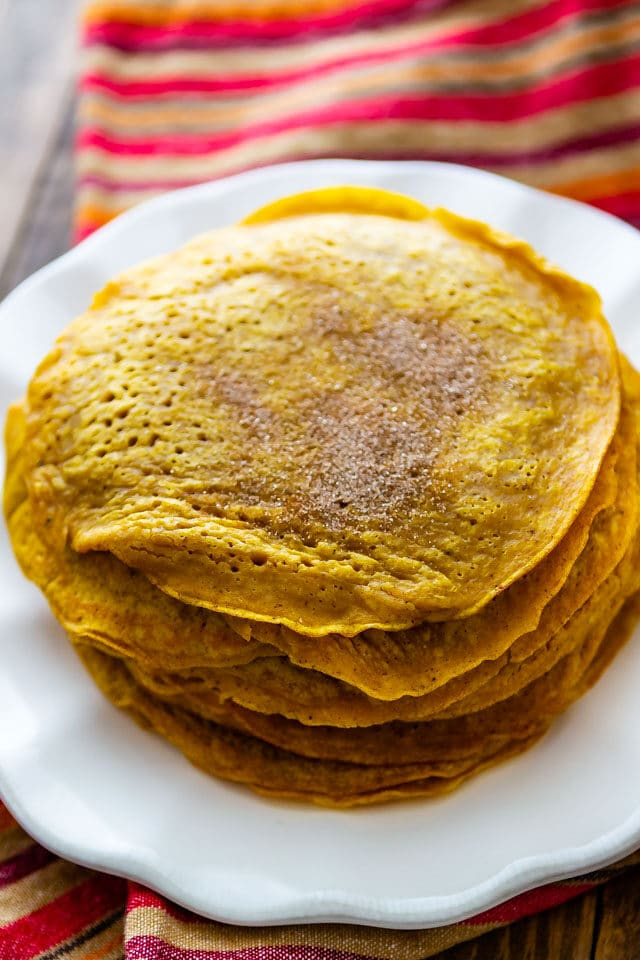 pumpkin pancakes on plate