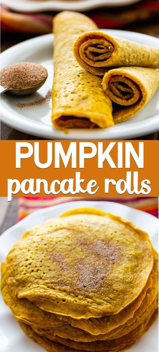 collage photos for pumpkin pancake rolls