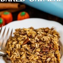 pumpkin spice baked oatmeal on white plate