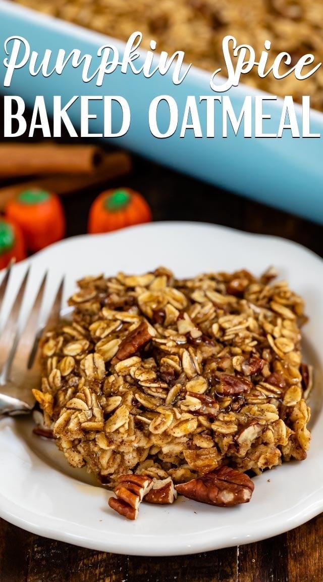 pumpkin spice baked oatmeal on white plate