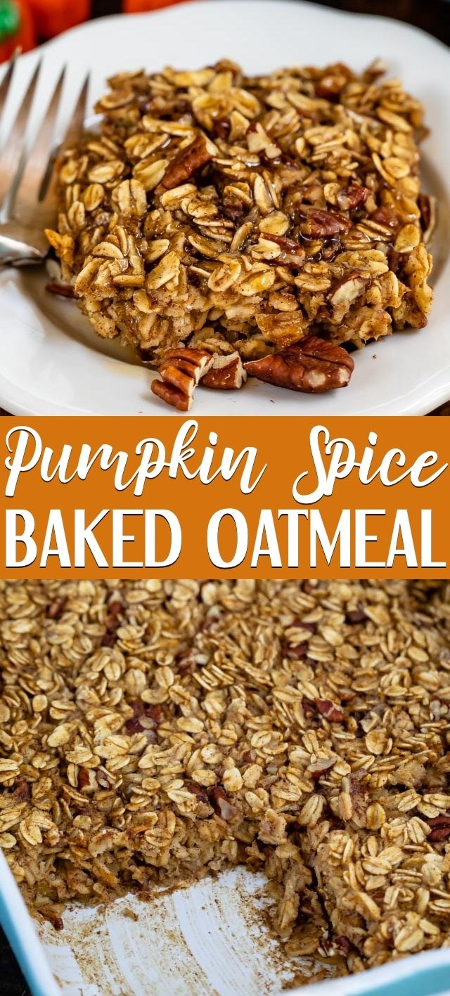 collage of pumpkin spice oatmeal photos