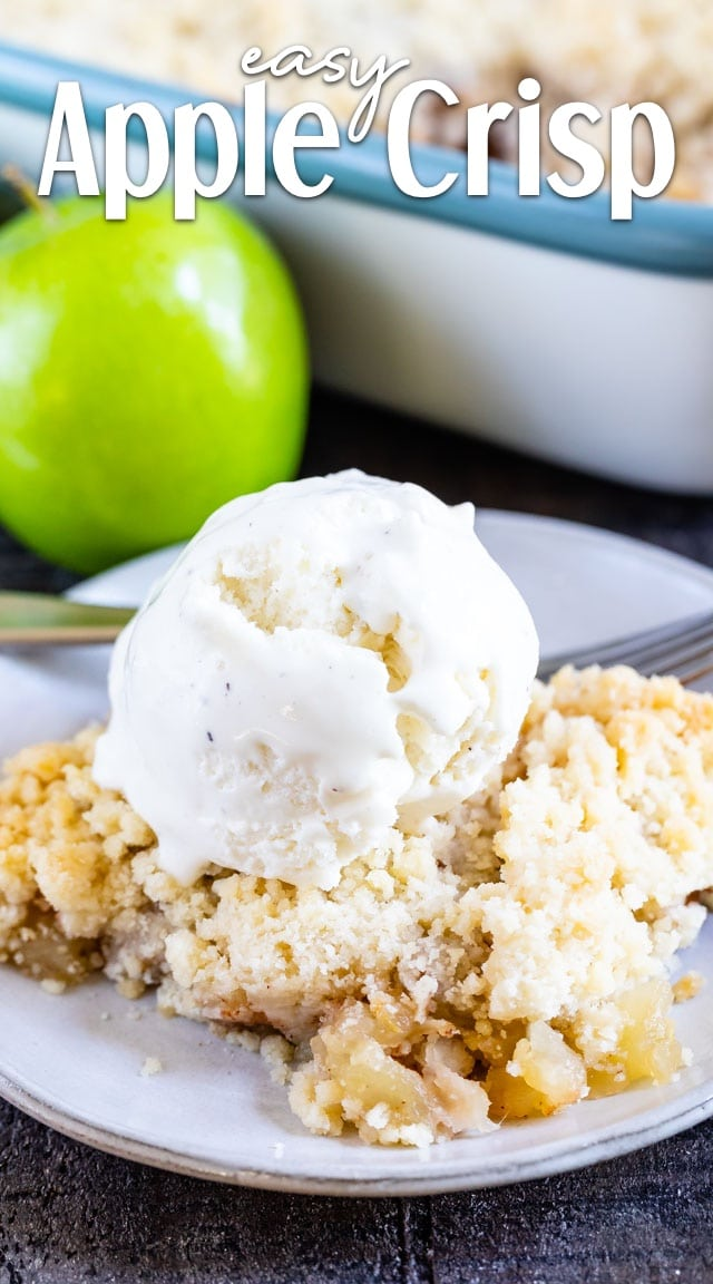 apple crisp on plate with ice cream
