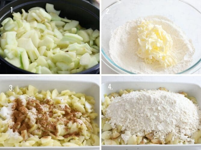 4 photos showing the process how to make apple crisp
