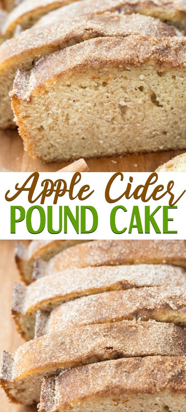 collage of apple cider pound cake photos