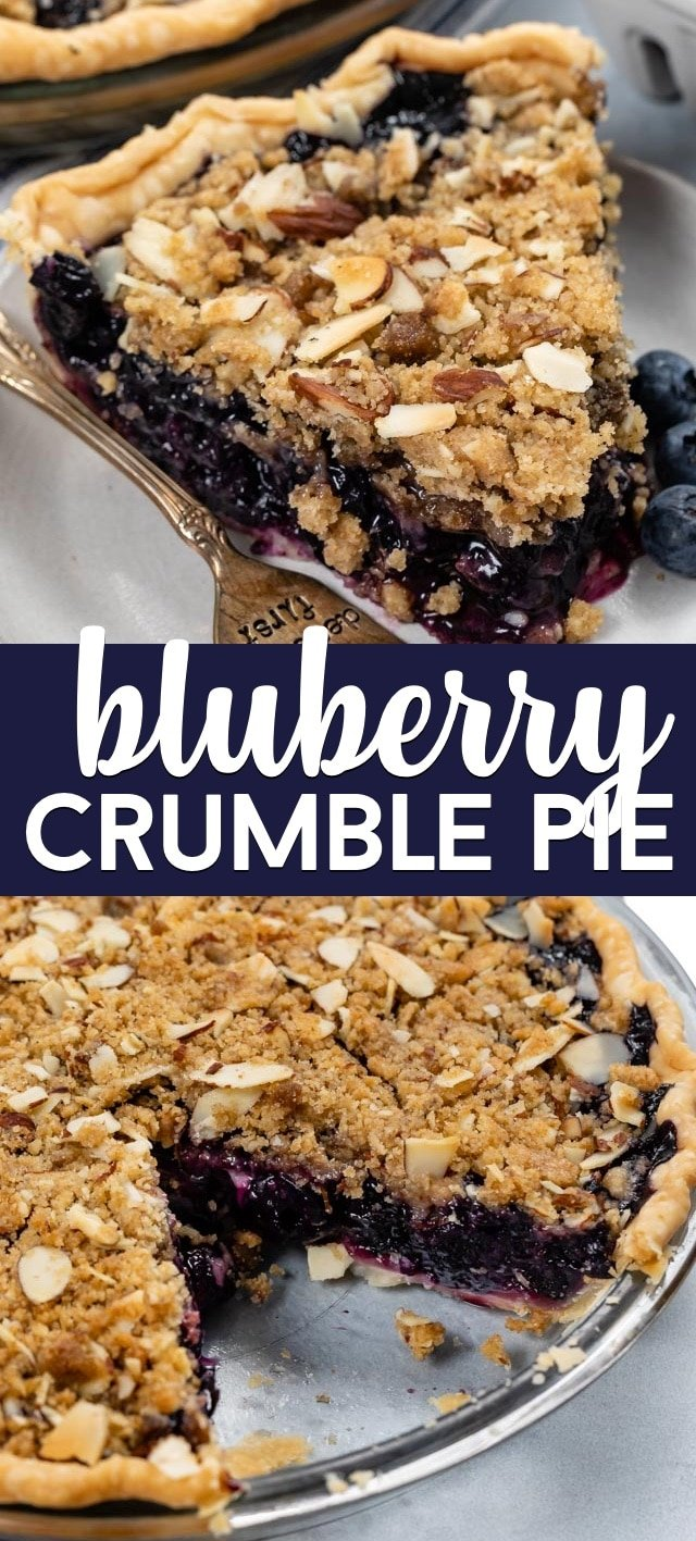 blueberry crumble pie collage photo