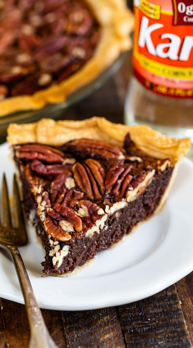 slice of pecan pie on white plate