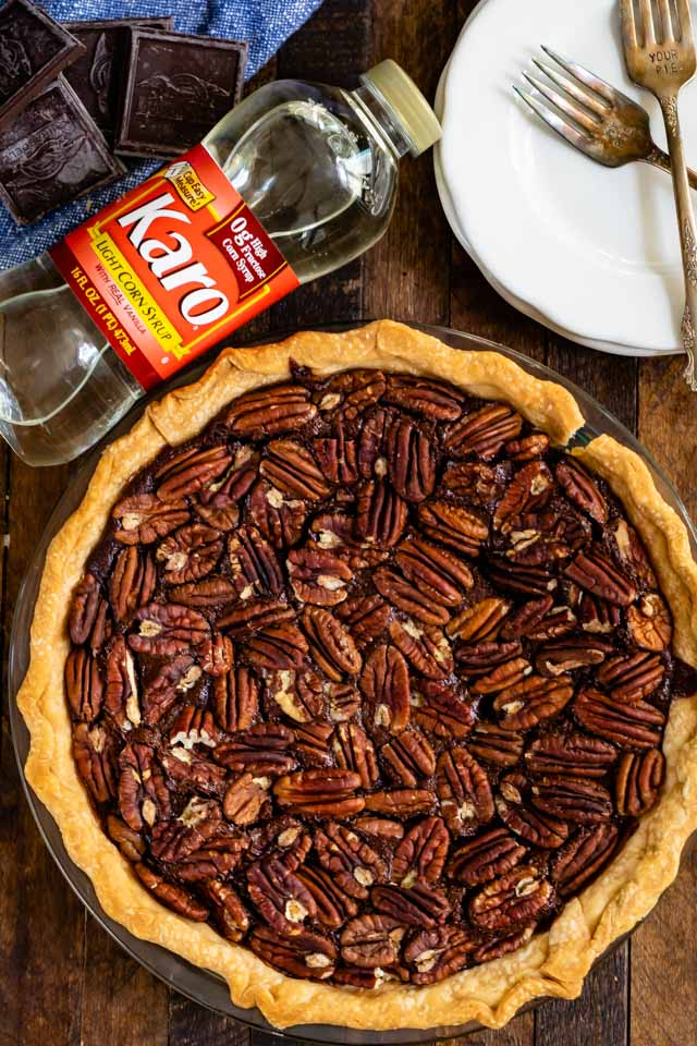 pecan pie with Karo bottle