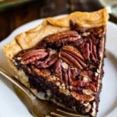 slice of chocolate pecan pie on plate