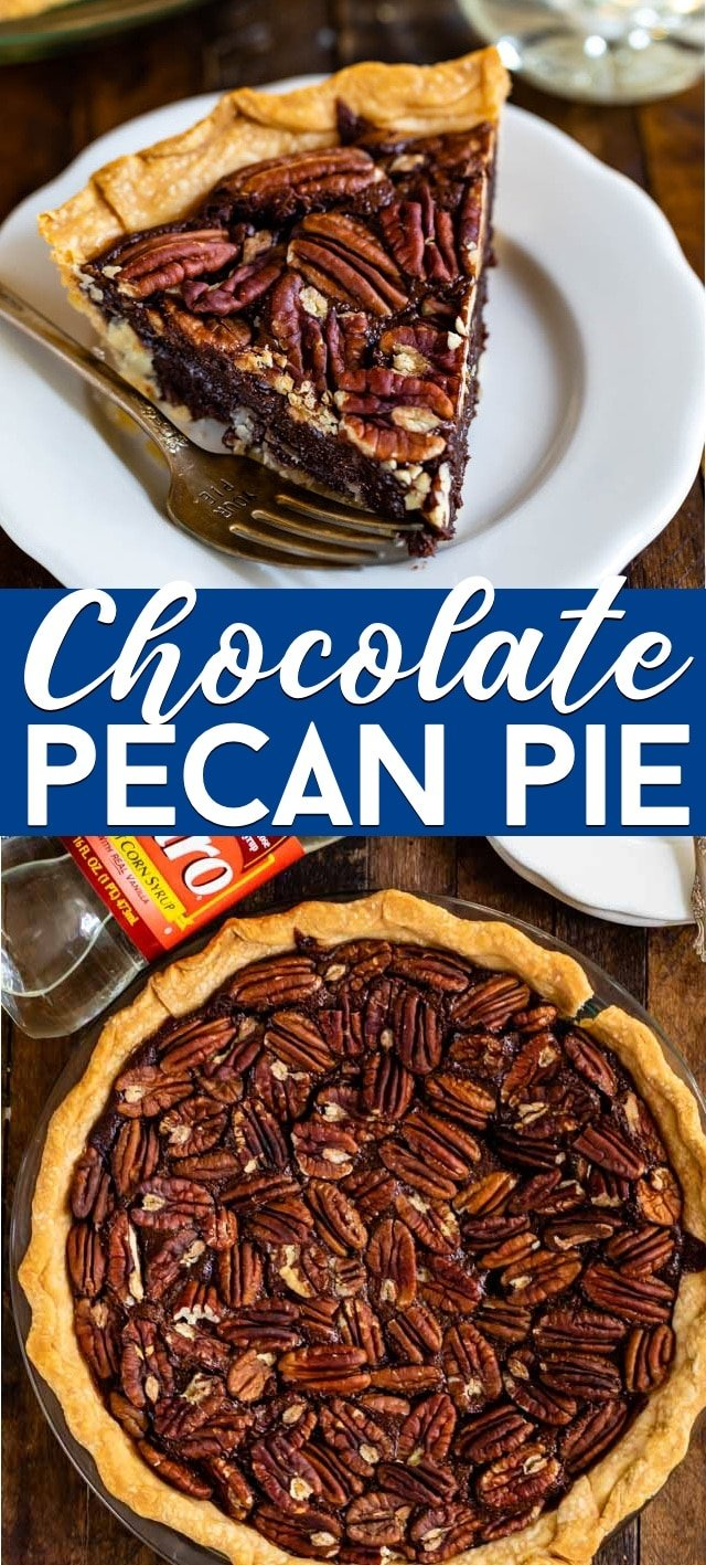 collage photo of chocolate pecan pie