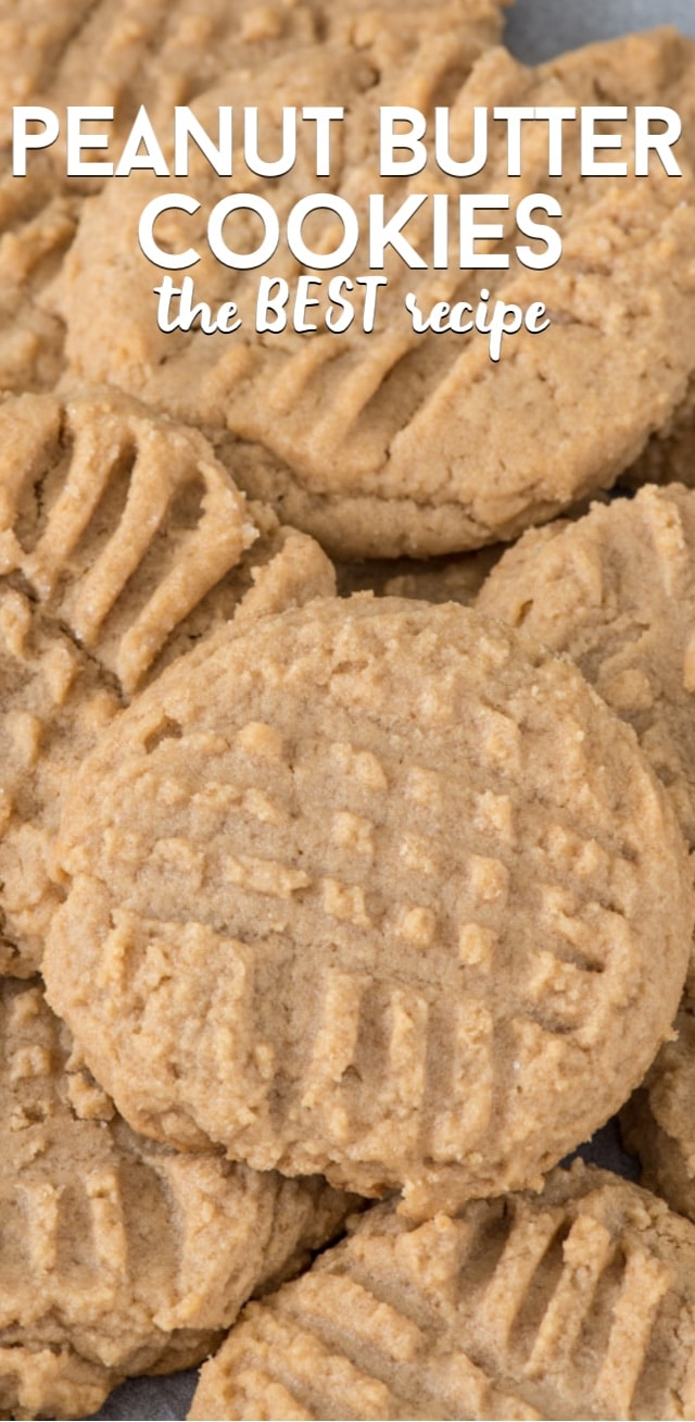 Close up of peanut butter cookies with writing