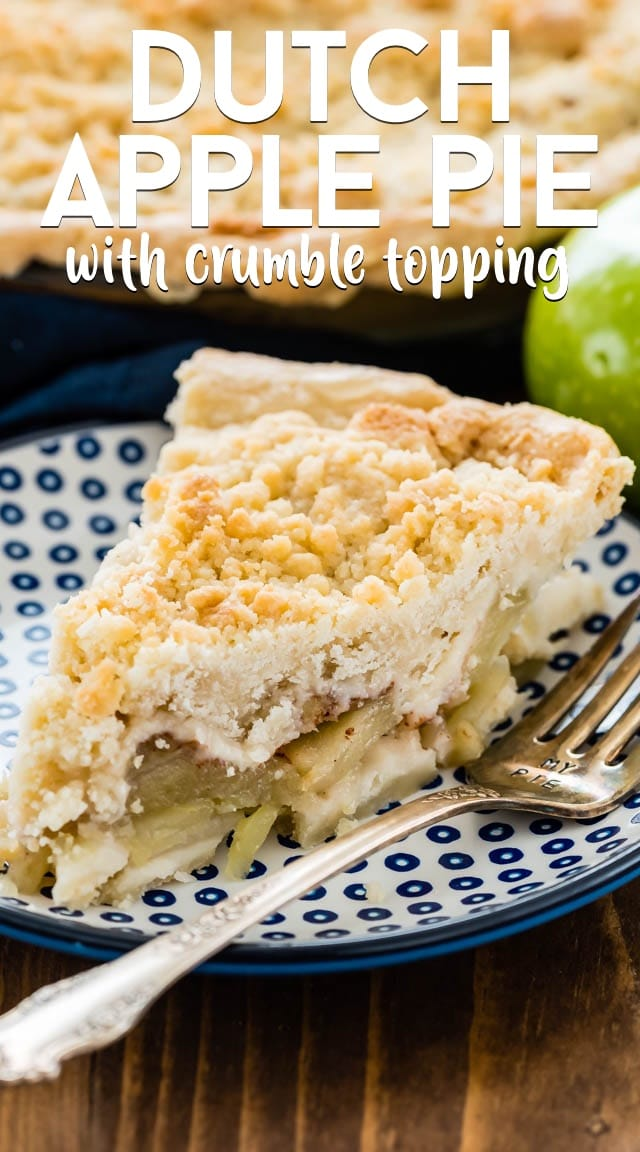 Dutch apple pie with crumble topping slice on a blue plate with title.
