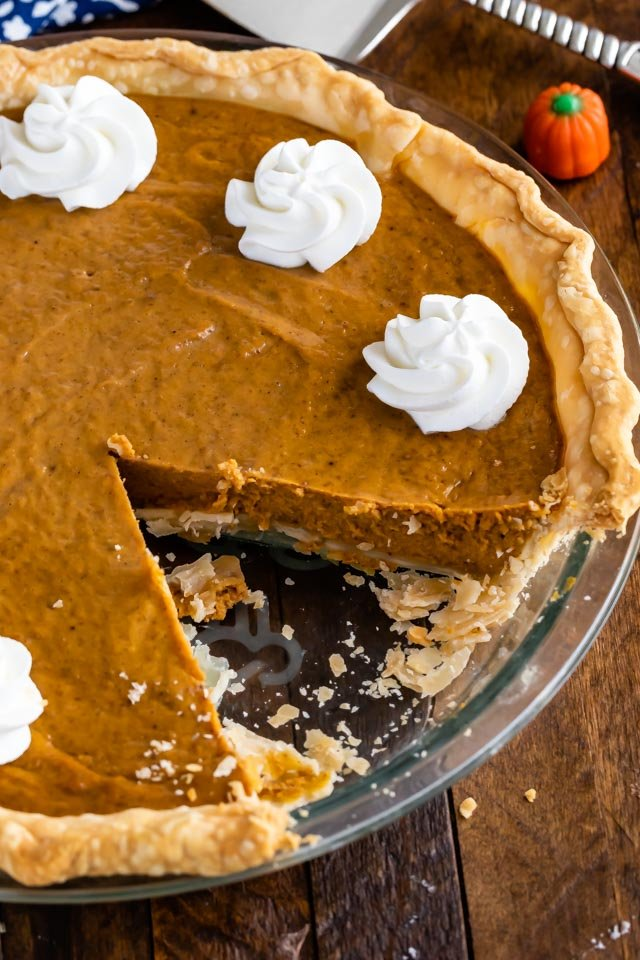easy pumpkin pie with slice missing