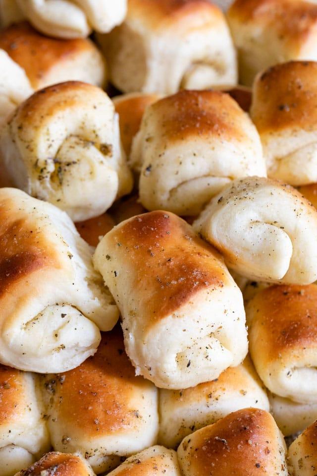 dinner rolls in stack