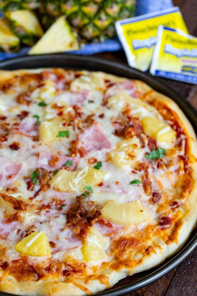 overhead Hawaiian pizza shot